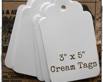 """Extra Large 3"""" x 5"""" Cream Tags 75 ct."""