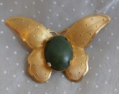 Gold Toned Butterfly Brooch with Green Stone, Vintage Pin for Wear, Crafting, or Creating