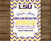 LSU Couples Shower Invitation, Louisiana State University, Geaux Tigers, Engagement, Wedding, Chevron 5x7 - Digital File for e-mail or print