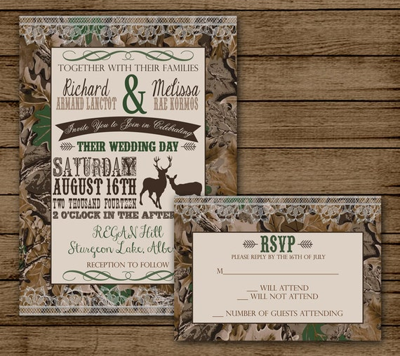Camo Wedding Invitation: Camo Wedding Invitation With RSVP Camo Invite Deer