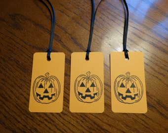 SET of 3 Orange Halloween Pumpkin Hang Tags