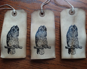 SET of 3 Large Primitive Halloween OWL Hang Tags