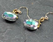 Pastel Crystal Dangle Earrings, Gold Filled Ear Wires