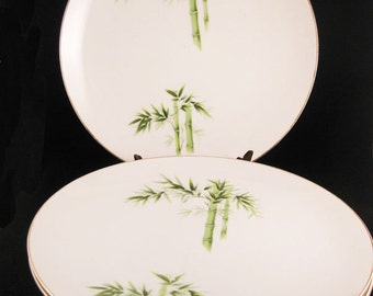 Orient China Bamboo Dinner Plates (4) Made In Japan