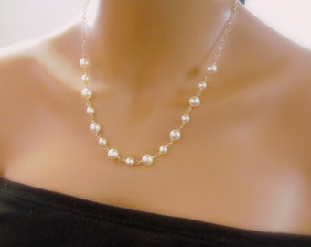 Swarovski Pearl Necklace in Gold, Cream Pearl Necklace, Gold Filled, Swarovski Pearl, Bridesmaid Necklace, Wire Wrapped