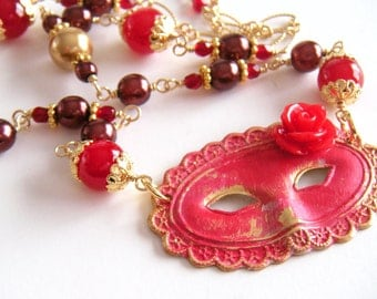 Mask Necklace, Gold Necklace, Red Necklace, Masquerade Necklace, Mardi Gras Necklace - Merlot and Gold Royal Mardi Gras Necklace