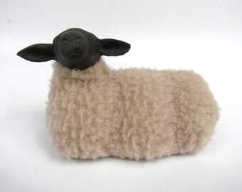 Life Like Primitive Sheep Figurines, English Suffolk Sheep Lying, Colin's Creatures Collection