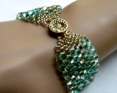 Gorgeous Miyuki Roccoco Green, Peach and Gold Peyote Bracelet