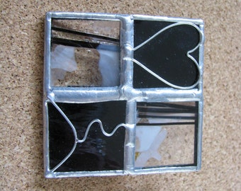 Square glass & metal contemporary brooch pinwith heart line designs