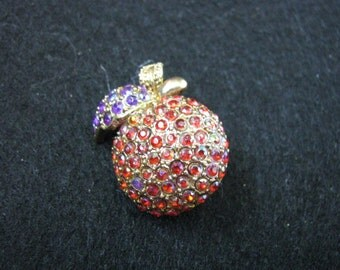 Vintage sparkly apple brooch pin with blue &  gold accents