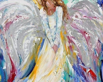 Angel Print on canvas made from image of past oil painting by Karen Tarlton - Guardian Angel of Love in many Sizes