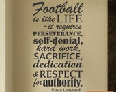 Vinyl Wall Lettering Football is Like Life Vince Lombardi Quotes Subway Art Decal