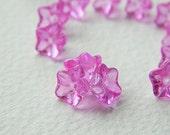 Vivid Hot Pink flower glass beads, Czech glass 5-petal trumpet flower beads, 8X5mm,Transparent Hot Pink (20pcs) NEW