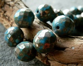 Blue Czech Glass Round Beads, Fire Polished Glass Beads, Opaque Blue & Silver Picasso finish, 12mm (6pcs) NEW