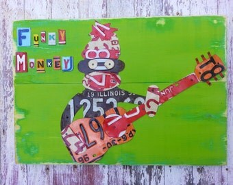 Guitar Playing Funky Sock Monkey - Red Blue Yellow Beach Music Game Room Boys Recycled Vintage License Plate Art - Salvaged Wood - Upcycled
