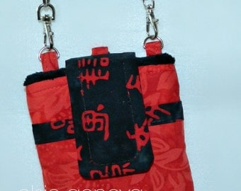Black and Red Batik Asian Words Phone Case with Wristlet and / or Optional Shoulder Strap iPhone 4 5  6 Plus Case