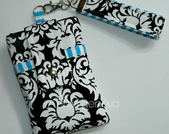 Made to Order Black White Damask True Blue Stripes iPhone 6 Phone Case Wristlet or Green Red Pink Purple Aqua Lime