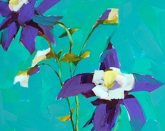 Purple Columbine Flowers original floral painting by Angela Moulton 12 x 12 inch on cradled panel