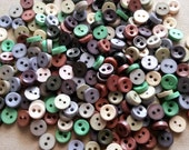 100pcs Round Tiny Buttons 2 Holes - Size 6mm earth tone