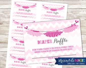 Baby Shower Diaper Raffle Cards for Tutu Cute, Printable PDF Diaper Raffle Ticket, INSTANT DOWNLOAD