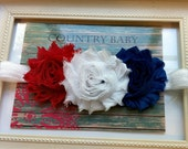 Baby Headband Red White and Blue...Fourth of July Headband...Red White and Blue