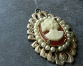 Cameo Pendant: Faux Pearl, Gold Tone, Metal Filigree, Cream, Red, Amber, Retro Jewelry, Vintage Craft Supplies, Pendant, Charm, Broach