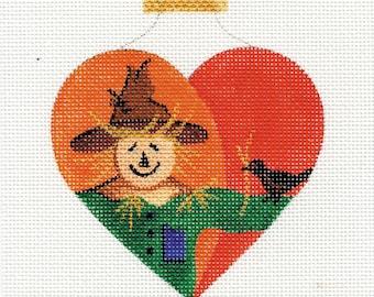 Scarecrow Heart Needlepoint Ornament - H9 - Jody Designs