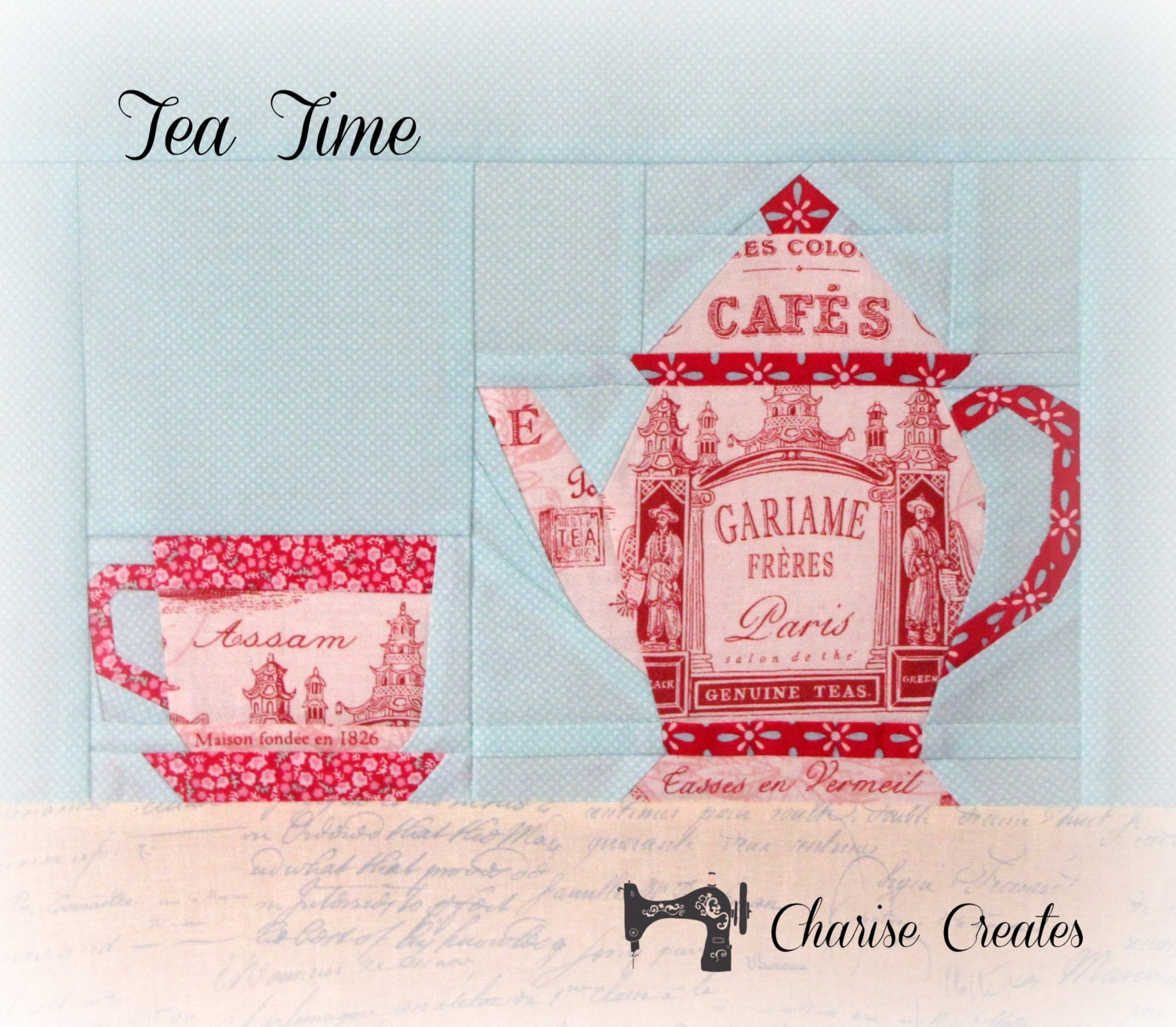 Tea Time Paper Pieced Pattern Teapot And Teacup