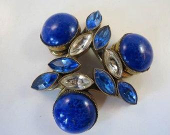 Original by Robert Lapis Blue & Clear Rhinestones Large Brooch