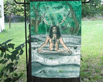 Cernunnos, Herne, Horned God of the Forest Garden Flag