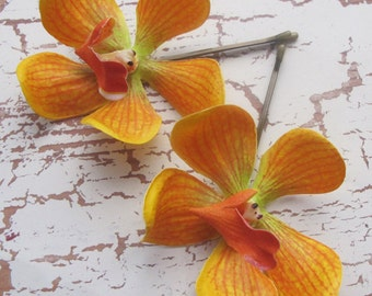 Orange  Vanda Orchids SET OF 2 bobby pin flowers-hair clips - Weddings