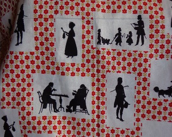 Vintage Silhouette Fabric with Colonial Motif
