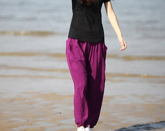 Purple Casual Bloomers Cotton Pants loose Trousers