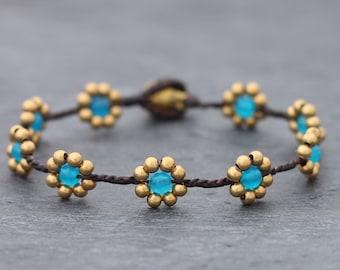 Daisy Light Blue Braided Bracelet