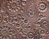 Copper Textured Metal Sheet  Paisley Pattern 24g - 6 x 2 1/4 inches - Bracelets Pendants Metalwork