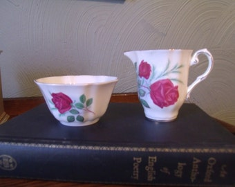 Vintage Royal Grafton Cream & Sugar Set, England, Tea Party, Cottage Chic, Shabby Decor