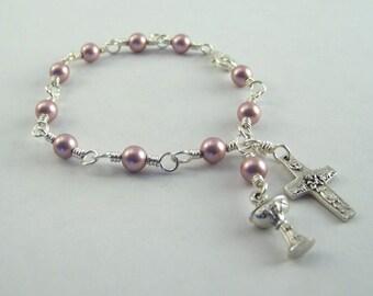 Swarovski Pearl Holy Communion Bracelet Your Choice of Color