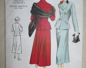 Vintage Vogue 2476 Repro 1940s Misses Jacket, Skirt Sewing Pattern Size 6-8-10 Uncut Factory Folded
