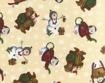 Just Reduced -Snowmen and Bears fabric - 1 yard