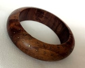 Vintage Wood Bangle with Brass Inlay