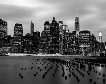 Black and White Manhattan Skyline, New York Photography, World Trade Center, NYC Skyline, New York at Night