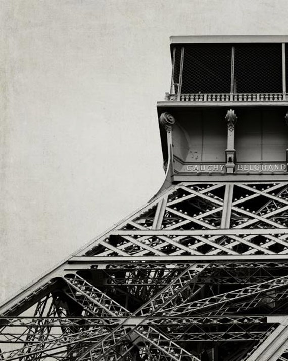 Paris Photography, Eiffel Tower, Neutral, Beige, Gray, Architecture, Industrial, Abstract, Paris Print Large Wall Art