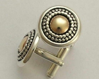 Two tone cuff links, Silver gold cuff links, yellow gold cuff links, round cuff links, sterling silver cuff links -  Headlights C0294