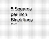 Printable Graph Paper 5 square per inch and 8 Square per inch-  Black and Turquoise - Immediate Downloads - Refills- filofax planners