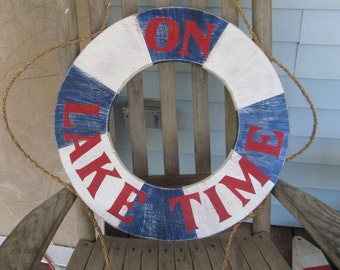 OOAK Reclaimed Large Wood Life Preserver Sign. Beach Sign. Nautical Sign. Lake Decor. Made to Order