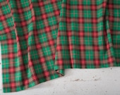 "Vintage Red & Green Plaid Cotton Fabric Yardage, Woven, Medium Weight, Traditional Country Classic, 94"" x 46"""