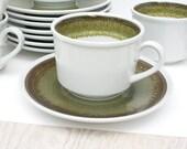 Set of eight Mikasa cups and saucers. Sand Kraft, Pocono green, retro, avocado green, moss, lava, eight.