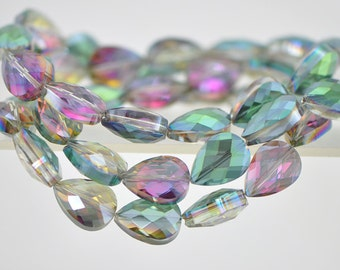 38pcs Teardrop Faceted Crystal Glass Beads 18mm Green Rose -(TS65-1)