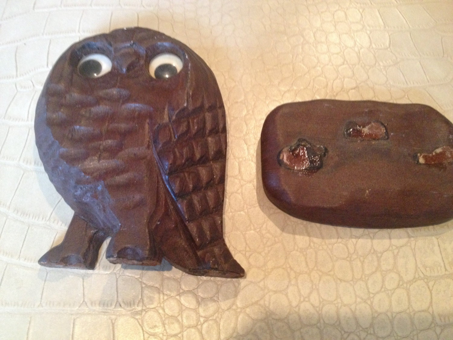 Vintage wooden owl statue wood carving googly eyes by