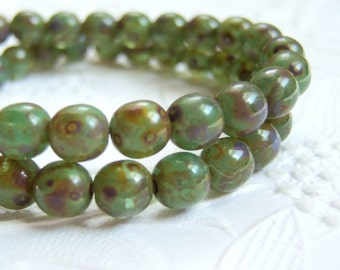Czech 6mm avocado green picasso finished bead lot of (25) beads - KC73